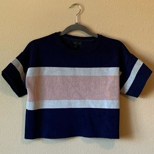 Topshop Pink, Navy, & White Crop Short Sleeve Tee